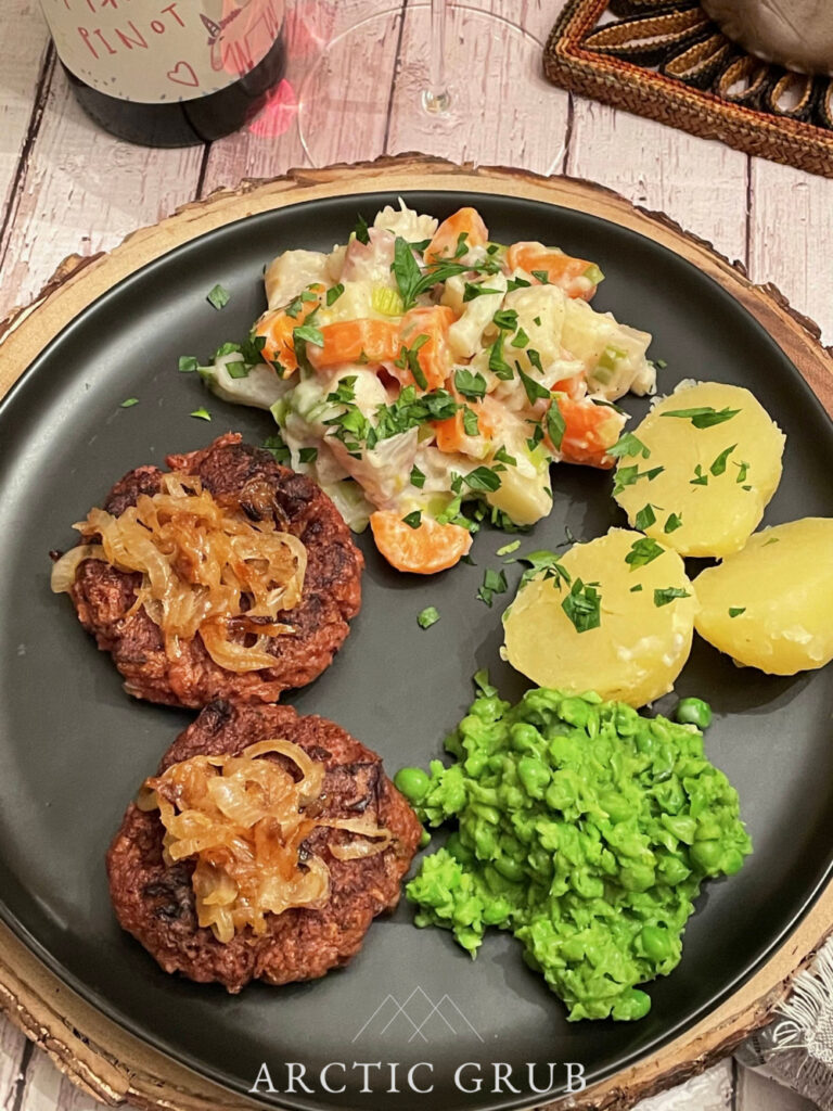 Karbonader with Caramelized Onions, Mashed Peas and Stewed Vegetables